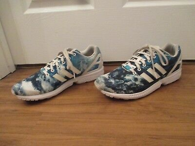 pick up bc6fa a0506 Used Worn Size 13 Adidas ZX Flux Ocean Wave Shoes Ocean Blue   White