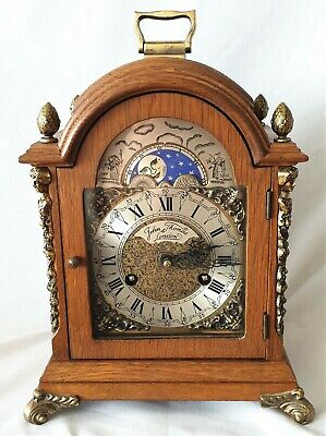 Warmink Clock Mantel Shelf Dutch Vintage Oak Moonphase 8 Day Double Bells 1975