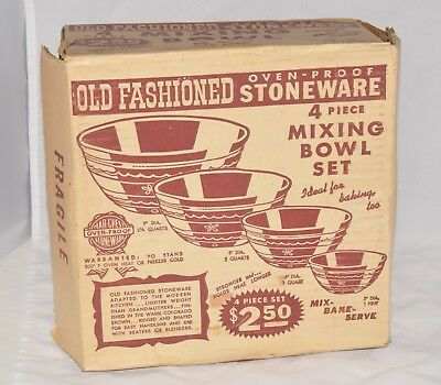 4 Mar-crest Stoneware Old Fashioned Daisy Dot Mixing Bowl Oven Proof Set NIB