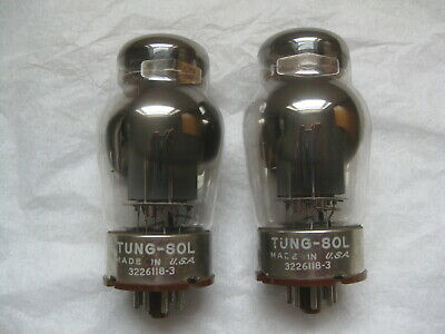Pair 6550 Tung-Sol Matched Pair Power Amplifier Tubes, Smooth grey plates 1961
