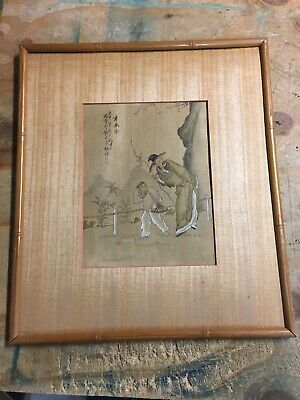 Vintage Chinese hand painting on silk in bamboo frame