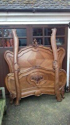 Antique French Walnut Louis XV Style Rococco Double Bed Frame (H334)