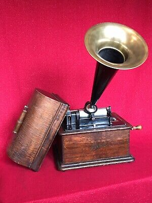 Antique EDISON STANDARD Cylinder Phonograph W Horn Record Excellent Working Cond