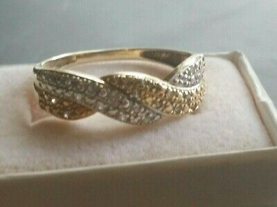 Estate Find, Vintage Two Color 14k  Gold  Marcasite Ring with Diamonds Size 9