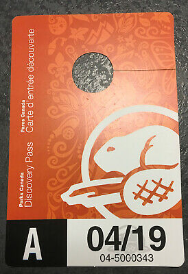 """Parks Canada Discovery Pass - """"A"""" Unsigned valid through 04/19 Adult"""