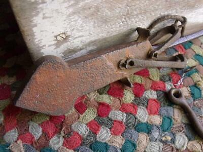 Primitive Antique Iron Scale Part With Arrow End Shabby RED Patina Hook Too