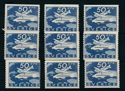 [31311] Sweden 1936 Good airmail stamp 9x Very Fine MH stamps