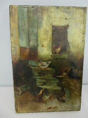 "ANTIQUE OIL ON CANVAS PAINTING of HENS BY CHICKEN COOP ~ 8"" WIDE x 12"""