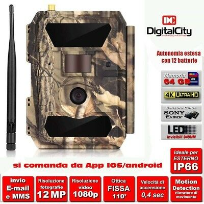 Fototrappola 3G Mimetica Mms Email Led Invisibili Video Hd Controllo Da App