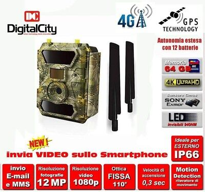 Fototrappola mimetica 12MP 4G LTE  GPS  #INVIA VIDEO# LED INVISIBILI