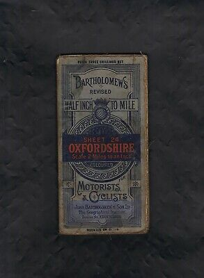 Vintage Linen Bartholomews Tourists & Cyclists Road Map of Oxfordshire