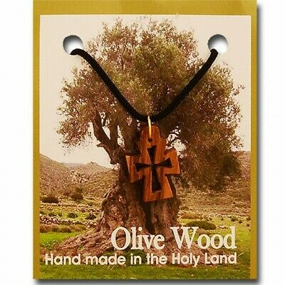 Pack of 10 Olive Wood Cut-Out Byzantine Cross Christian Pendants with Necklace