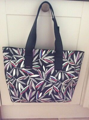 98283393390e Designer Paul Smith Grained Calf Leather Leaf Print Large Tote Bag Rrp £595  Bnwt