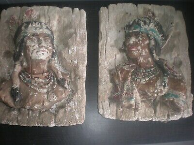 2 vintage Native American Indian wall sculpture, Lawn Art, concrete, neat