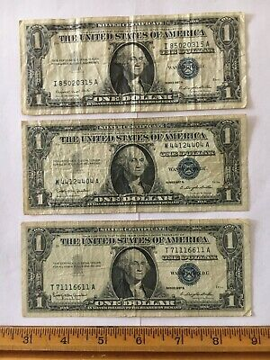 Lot of (3) Series 1957 B,A $1 Silver Certificate Banknotes Blue Seal Circulated