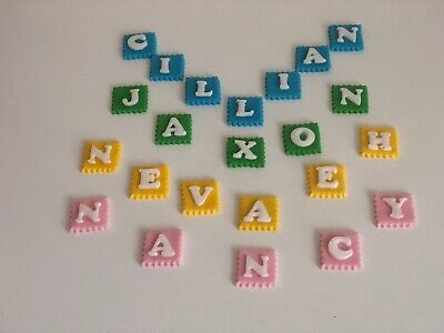 Edible name icing sugar paste personalised rainbow colours girls boys decoration