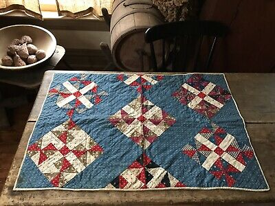 RARE Early Antique DOUBLE SIDED ALL Calico Child's Quilt Hand Sewn AAFA Blue Red