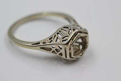 Vintage Estate 14K White Gold Filigree Engagement 5.75 Mount For 3/4Ct Diamond