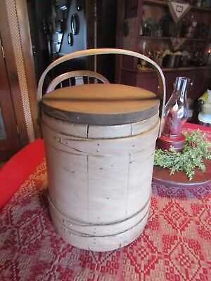 Vintage Large Firkin W/3 Bentwood Fingers Holding It Tight-Make-Do Lid