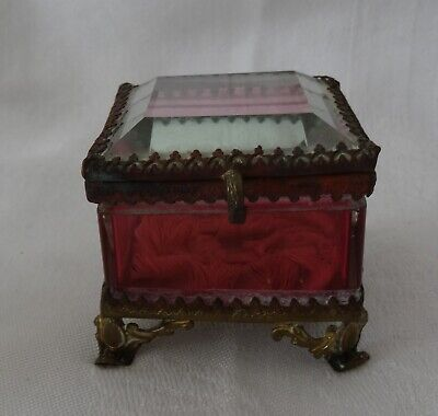 Antique Clear and Cranberry Bevelled Glass Ring Box