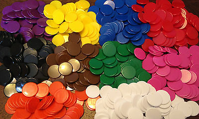 22mm Opaque Plastic Board Game Counters Tiddly winks Numeracy mixed 25, 50, 100