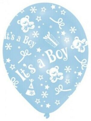 6 Pack - Its A Boy - Blue Teddy Baby Shower Balloons Party Decorations  #61988