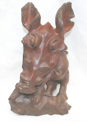 Hand Carved Wood Treen Figure Caricature Of Wild Boar Signed Lipe 1-5-01 WK30-27