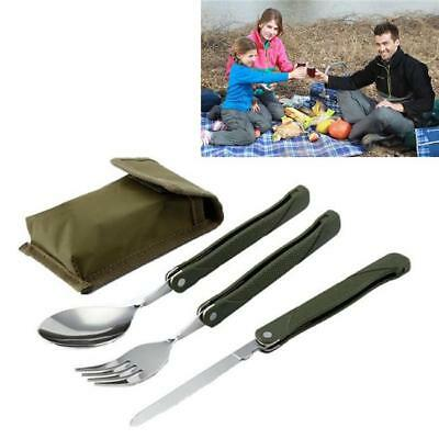 3pc Stainless Steel Folding Cutlery Set Fork Spoon Tool Camping Hiking BM