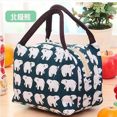 Cute Waterproof Canvas Insulated Thermal Cooler Lunch Box Carry Tote Storage Bag
