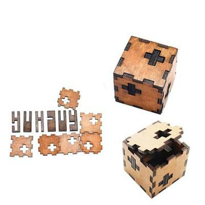 Wooden Game 3D Wood IQ Puzzle Brain Teaser Magic Tetris Cube Model Gift BM
