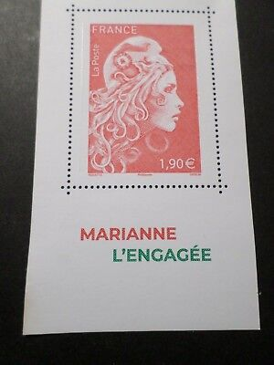 FRANCE SALON 2018, timbre ROUGE 1.90 GRAND FORMAT MARIANNE ENGAGEE neuf**, MNH