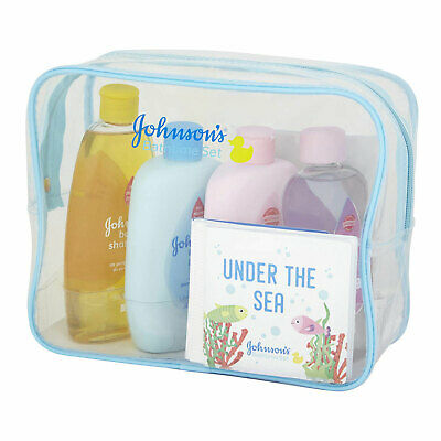 Johnson's Baby Essential Bathtime Gift Set Shampoo Bath Lotion Oil Sponge Cards