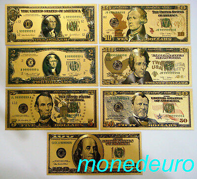 (412) Lote 7 Billetes Dolar Usa Baño En Oro 24K 1-2-5-10-20-50-100 Replica
