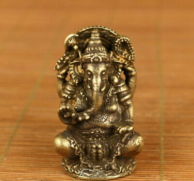 Elephant old bronze hand statue collectable ornament netsuke table decoratio