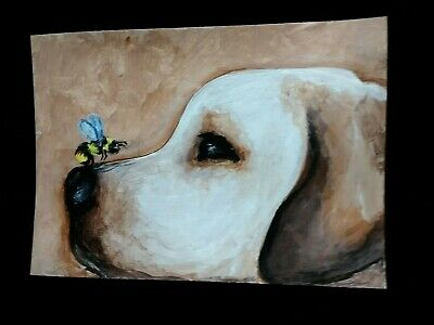 PUPPY vs Bee painting ARTIST TRADING CARD signed ACEO original DOG honey bumble