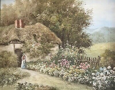 Fine English School Signed Oil - Traditional Country Cottage In Flower Garden