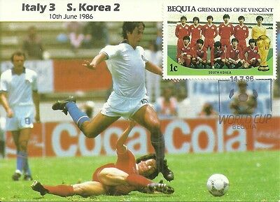 WORLD CUP - MEXICO86 - ITALY v S.KOREA - P/C & BEQUIA 1c STAMP