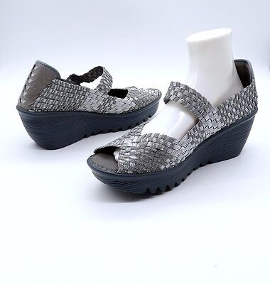 a6eec3ac67c9f BERNIE MEV 41 US 10 10.5 Silver Gray HALLIE Woven Peep Toe Comfy Wedge  Sandals