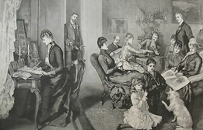 1890 Large Antique Print - Alexandra of Denmark - Family Reunion, Fredensborg