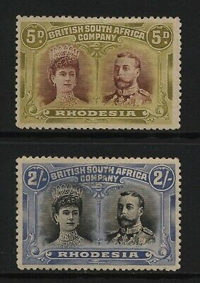 Rhodesia BSAC 1910 Double Head Stamps Unused (Faults)
