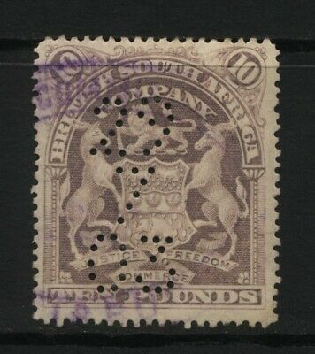 Rhodesia BSAC £10 Lilac Arms Perforated Stamp Used