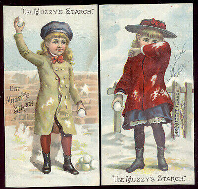 1880's ~ 2 MUZZY'S CORN STARCH TRADE CARDS, CHILDREN IN A SHOWBALL FIGHT  C1380