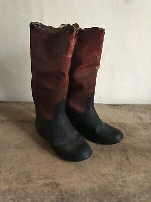 BEST Tall Old Antique Red & Black Child's Rubber Boots WORN Patina AAFA Textile