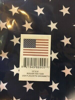 """12""""X18"""" Rough Tex 100D Usa Flag W/Grommets For Boats Uv Protected Water Proof Us"""