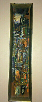Mid Century Framed Abstract  Oil Painting City Scape Masonite Board Unique Size