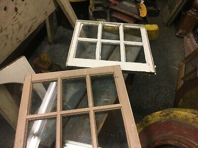 "PAIR c1920 ANTIQUE six pane windows SALVAGed farm house sash 20"" x 22"" ~ 8"" X 6"""