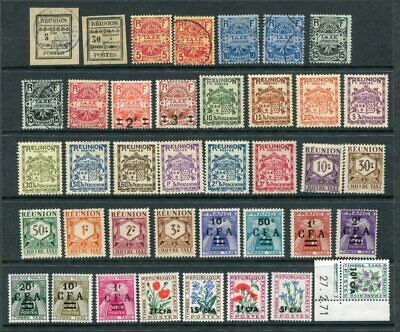 REUNION FRENCH COLONIES Early POSTAGE DUE M&U Lot 39 Stamps