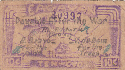10 Cents Vg Guerilla Banknote From Japanese Occupied Philippines/cagayan!p-S180!