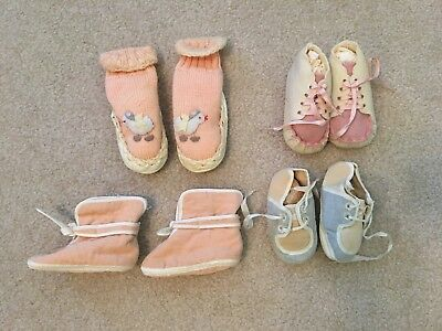 Lot of 4 Vintage Baby Booties Shoes 1950's