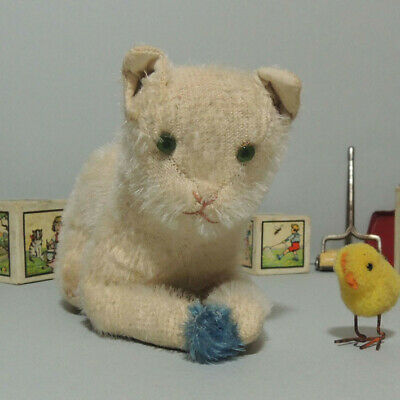 Uralte liegende Mohair Katze mit Ball ~ Lovely antique cat Rare!